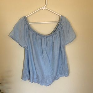 Chambray off the shoulder top with scalloped hem